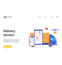 delivery logistic digital service landing page vector image