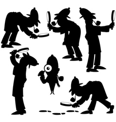 Detective Silhouettes vector image