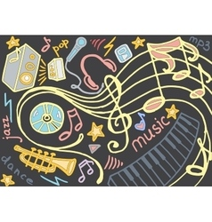 doodle set music vector image