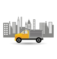 Dump truck city background graphic vector