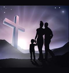 Easter christian cross family vector