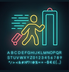 Express entry neon light icon passenger passing vector