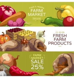 Farmers Market Horizontal Banners Set vector