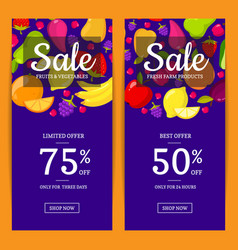 flat fruits vegan shop or market sale flyer vector image