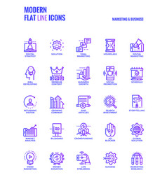 Flat line gradient icons design-marketing and vector