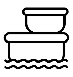 Floating market stock icon outline style vector