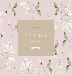Floral spring social media banner for advertising vector