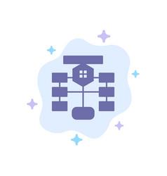 Flowchart flow chart data database blue icon on vector