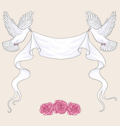 Flying doves ribbon and pink roses vector
