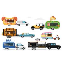 food trailers set street eating caravan vector image