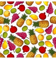 Fresh tropical fruits seamless pattern vector