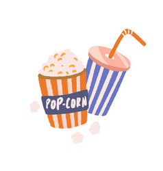 full popcorn bucket and soda drink cup with straw vector image