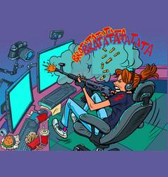 Gamer girl streamer online broadcast shooting vector