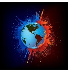 Globe in paint vector