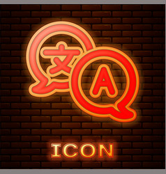 Glowing neon translator icon isolated on brick vector