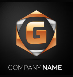 Gold letter g logo in the golden-silver hexagonal vector