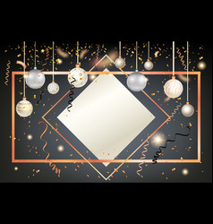 golden holiday frame card vector image