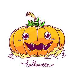 halloween of decorative orange pumpkin with eyes vector image