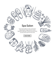 Hand drawn spa elements in circle form with vector