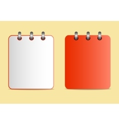 Icons of the red notebook on the rings in two vector image