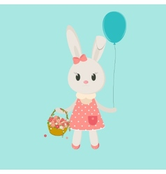 Image bunny girl with basket vector