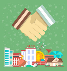 Investing in future concept with shaking hands vector