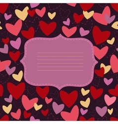 invitation card with heart on turn blue background vector image vector image