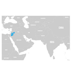 Jordan blue marked in political map south asia vector