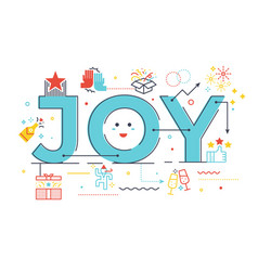 joy word lettering vector image