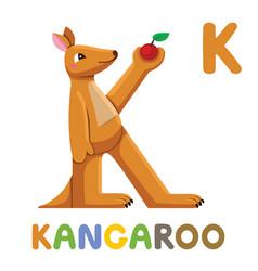 k is for kangaroo letter k kangaroo cute animal vector image