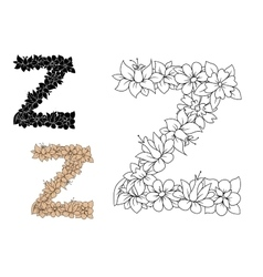 Letter Z decorated by vintage floral elements vector