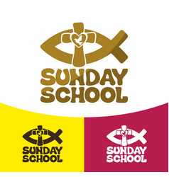 Logo sunday school and christian symbols vector