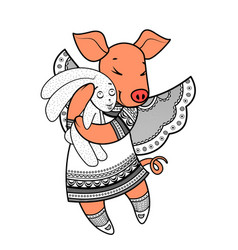 Lovely pig with wings in beautiful clothes with a vector