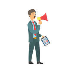 Man with loudspeaker folder with paper document vector