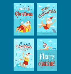 merry christmas santa claus water activities rest vector image