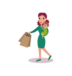 mother carrying shopping bags in one arm and baby vector image