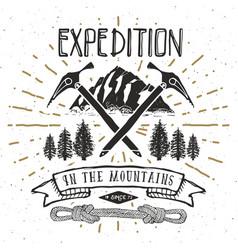mountain expedition vintage label retro badge vector image