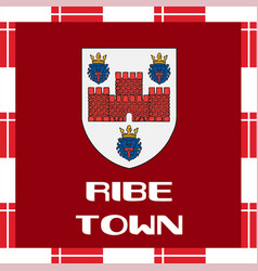 National ensigns of denmark - ribe town vector