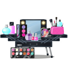 open case with cosmetics isolated on white vector image