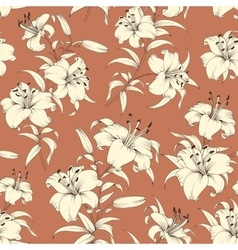 Pattern of lily flowers vector