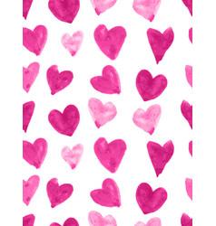 Pink watercolor heart pattern vector