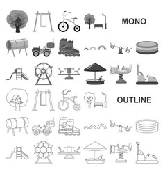 Playground entertainment monochrom icons in set vector