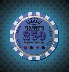 Poker chip 250 on blue background vector