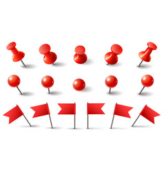 Red pushpin flag and thumbtack isolated vector