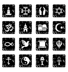 Religion icons set grunge vector