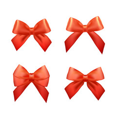 ribbons set for christmas gifts red gift bows vector image