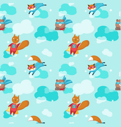 Seamless pattern with cute superhero vector