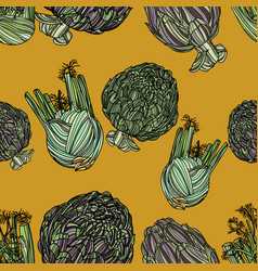 seamless pattern with fennel and artichoke vector image