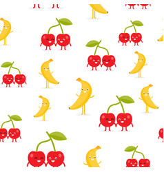 seamless pattern with funny happy banana and vector image