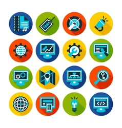 SEO and internet optimization flat icon set vector image